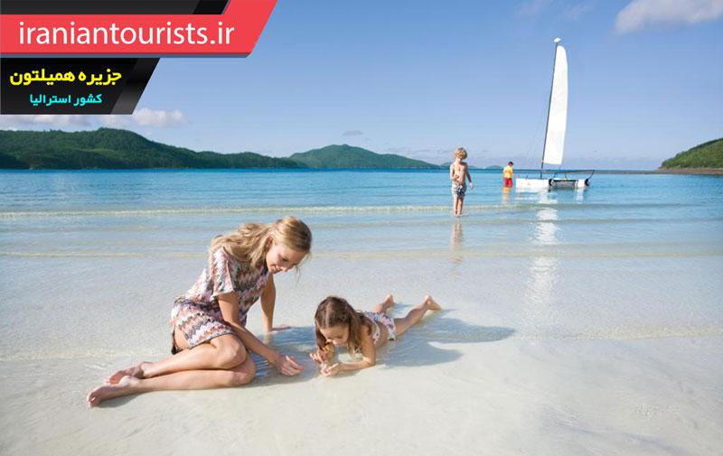 تفریحات گردشگران در سواحل جزیره همیلتون